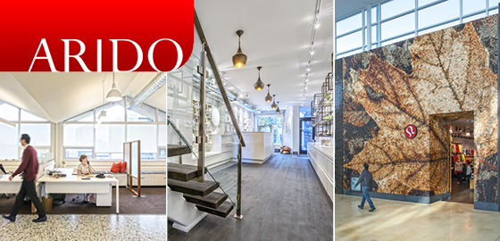 pictures of the interior of Park Property Management, HUSK, and storefront of Lululemon Yorkdale