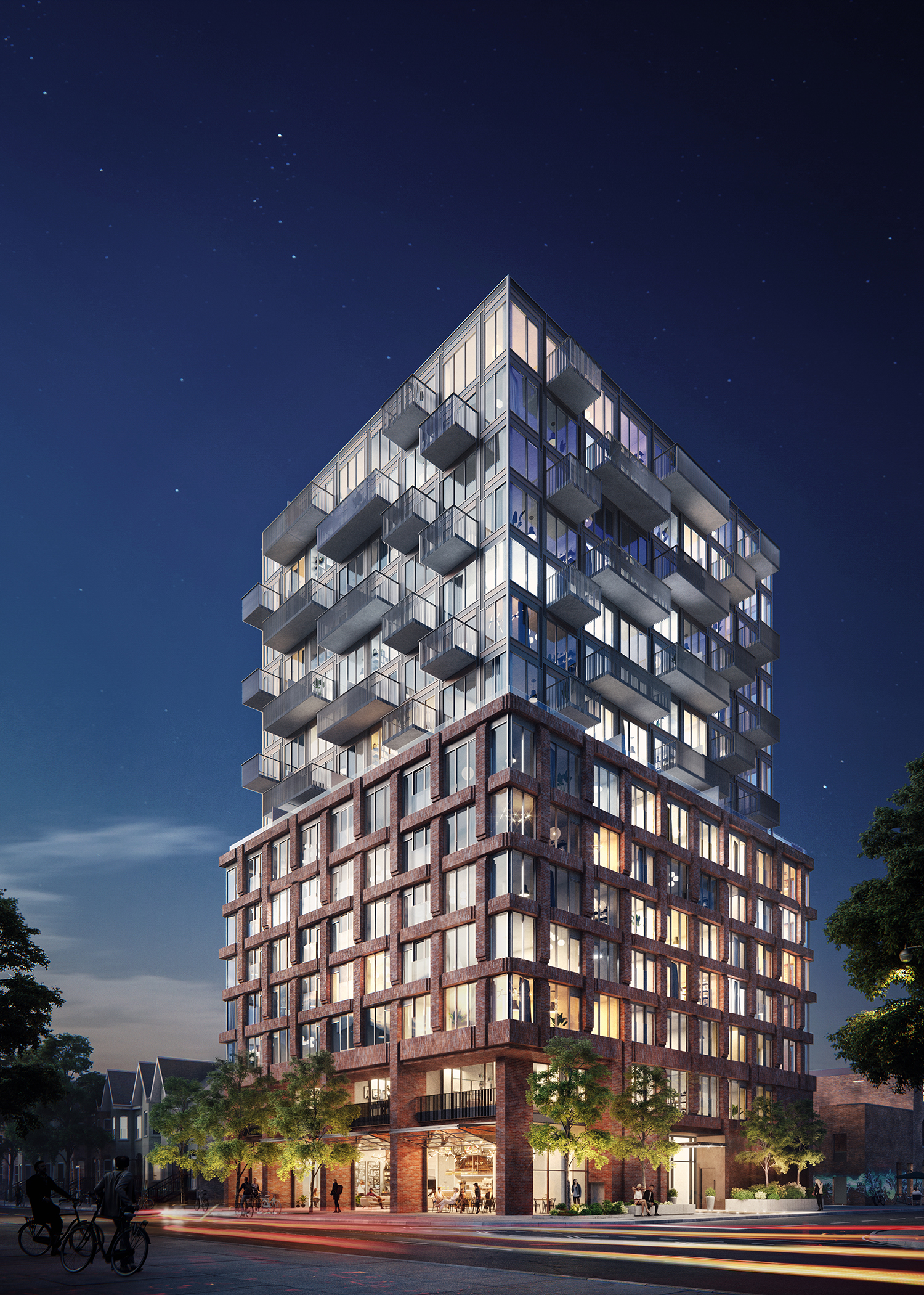 architectural rendering of a 15-storey condo with red brick woven pattern podium and glazing and protruding balconies on the upper portion