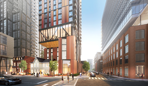 rendering of a high rise tower with red brick like cladding, cantilevered over a heritage Victorian building