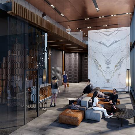 rendering of people enjoying a lounge area in a condo with a marble slab wall, wood finishes and a mezzanine level above