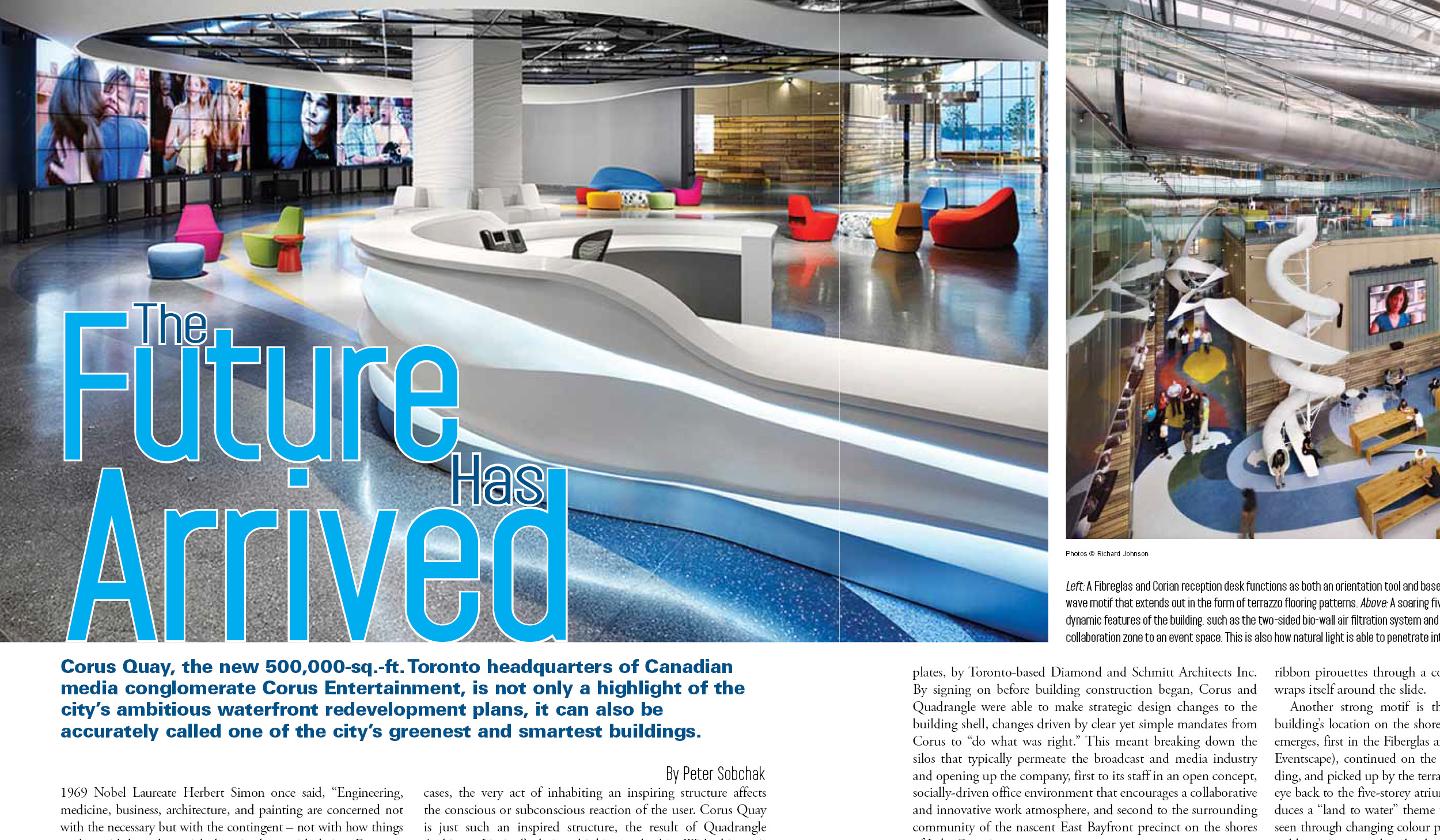 an article about Corus Entertainment's new office taken from Building Magazine