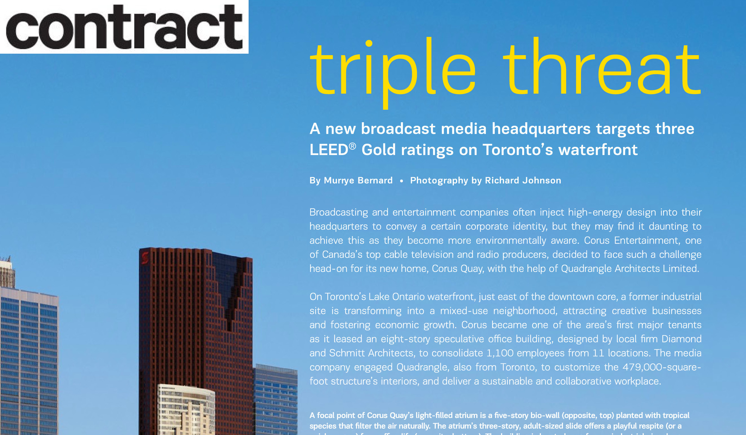 """Page from Contract Magazine with a partial photo of the Toronto Skyline and the headline """"Triple Threat"""""""