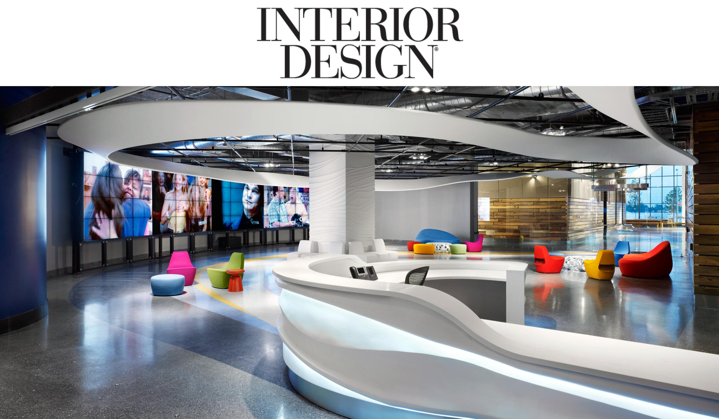 colourful interiors at Corus Entertainment headquarters underneath the Interior Design magazine logo
