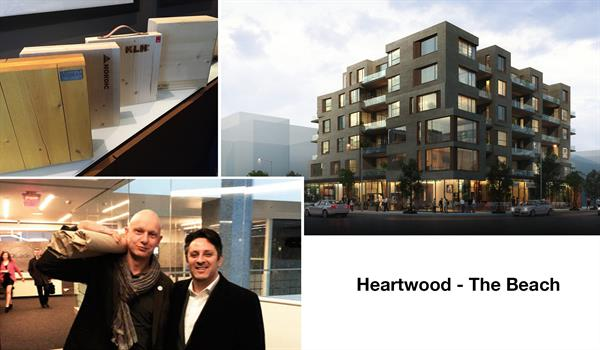 photos of wood samples, Marco VanderMaas and Richard Witt holding packaged drawing rolls, and a rendering of Heartwood - The Beach