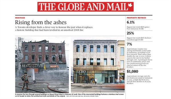 newspaper article from the Globe and Mail showing 619 Queen St W in the aftermath of a fire beside a picture of the new building in its place