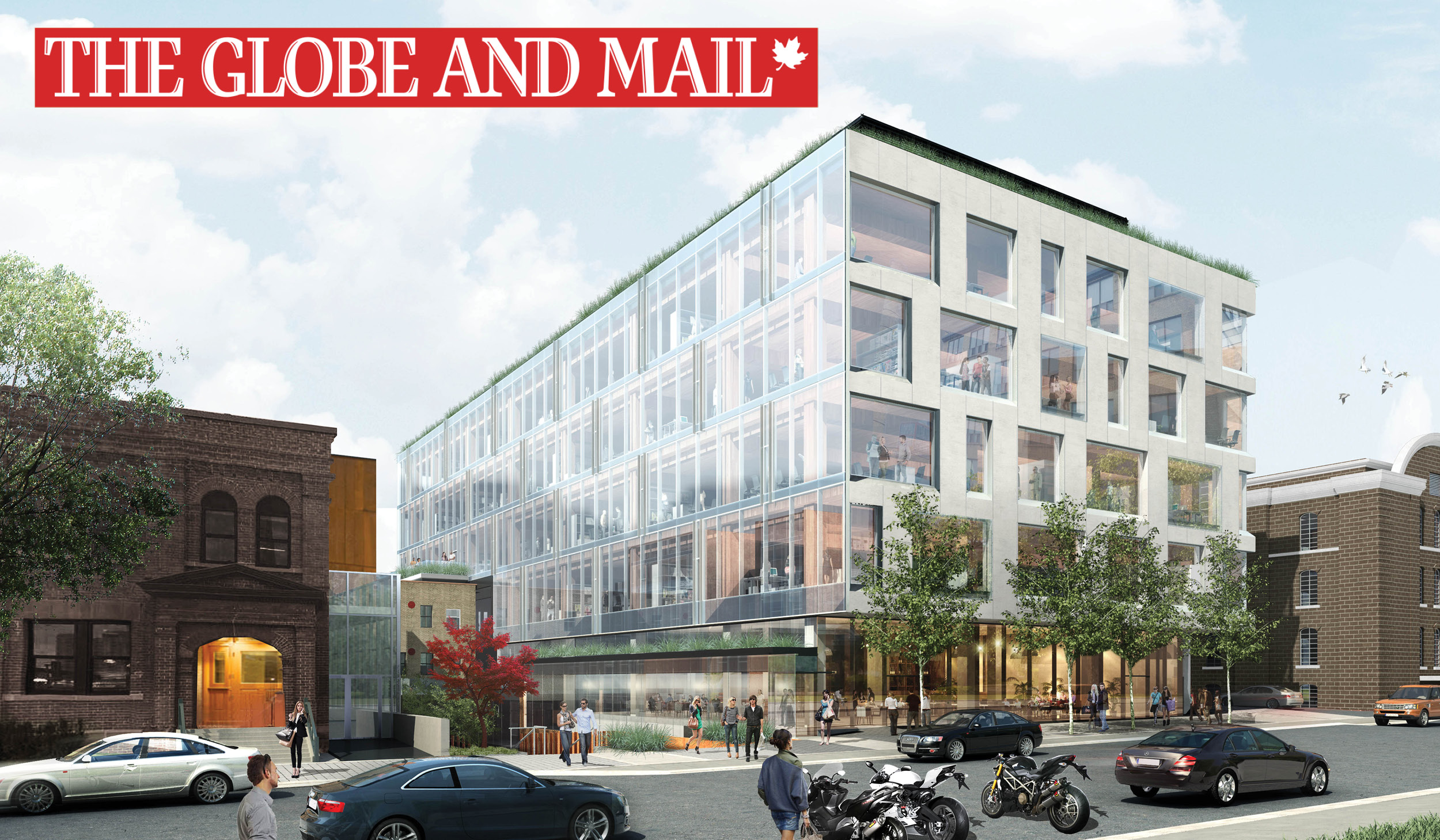 Rendering of the proposed 80 Atlantic mid-rise office building in Liberty Village