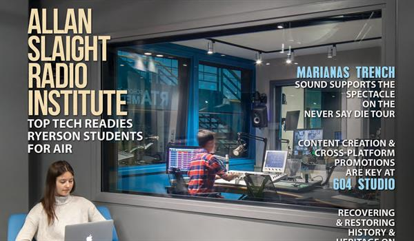partial cover of Professonal Sound magazine showing students working in the Allan Slaigh Radio Institute at Ryerson University