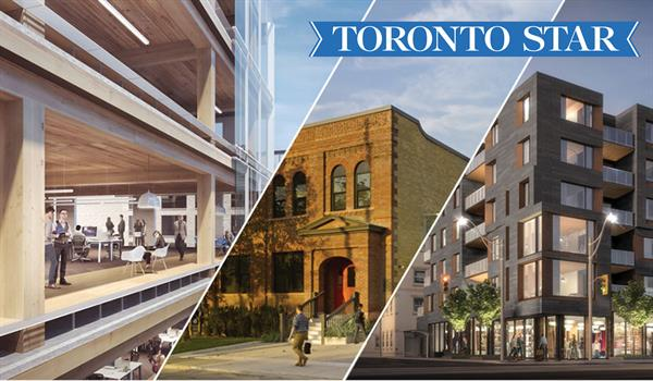 renderings of Heartwood The Beach, 80 Atlantic, and a photo of 60 Atlantic, with the Toronto Star logo