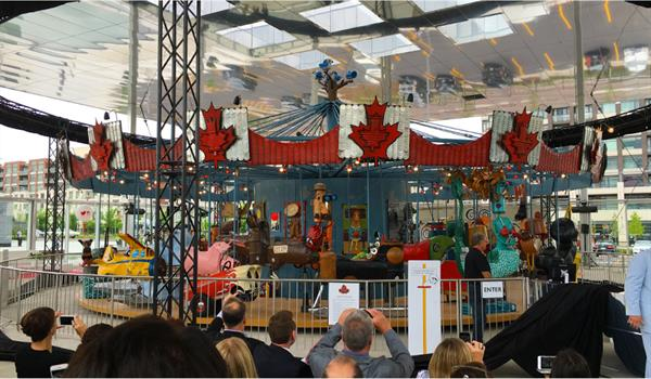photo of a crowd gathering at a carousel