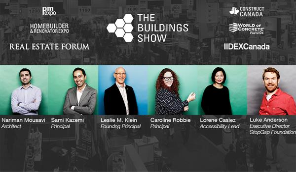 photos of Nariman Mousavi, Sami Kazemi, Les Klein, Caroline Robbie, Lorene Casiez, and Luke Anderson with logos from the various aspects of The Building Show convention