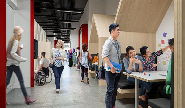 rendering of people in a colourful hallway with covered wooden booths affixed to the wall