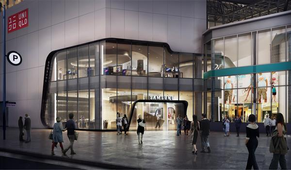 rendering of the exterior of the Samsung Experience Store at the entrance of the Eaton Centre