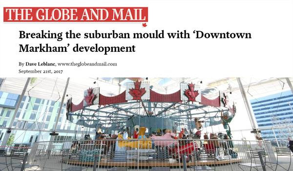Globe and Mail logo above a photo of the Pride of Canada carousel in Downtown Markham
