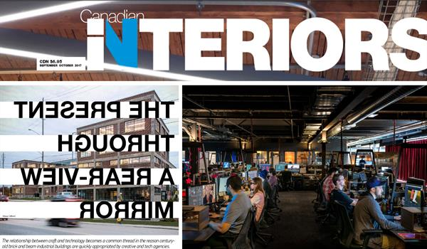 """Canadian Interiors magazine cover and article headline """"The present through a rear-view mirror"""" spelled backwards, and a photo of people working at computers in a darkened office"""