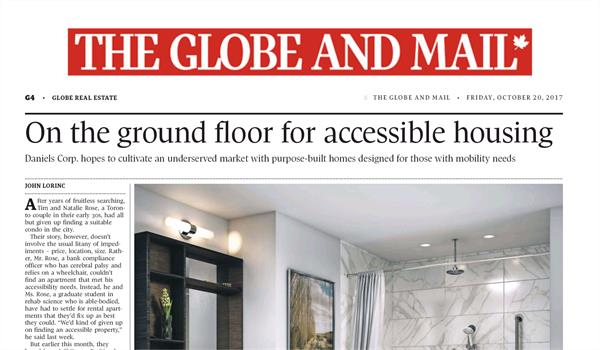 "a Globe and Mail newspaper article with the headline ""On the ground floor for accessible housing"""