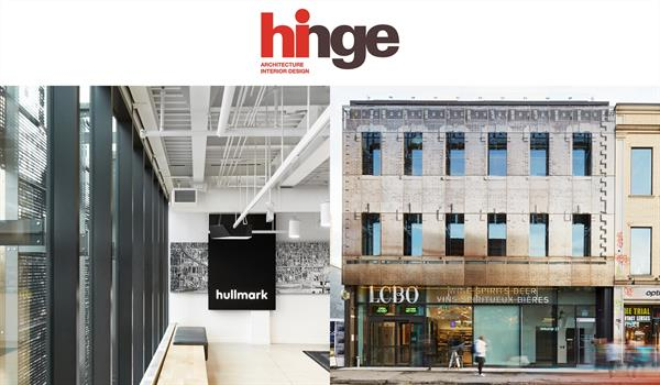 photos of the exterior facade and interior office of 619 Queen Street West underneath the logo for Hinge magazine