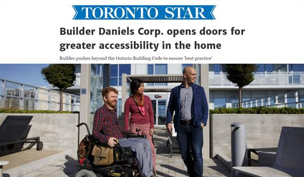 """Luke Anderson of StopGap, Lorene Casiez of Quadrangle, and Jake Cohen of The Daniels Corporation in a photo beneath a Toronto Star headline reading """"Builder Daniels Corp. opens doors for greater accessibility in the home"""""""