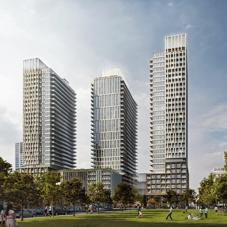 rendering of three residential towers atop a shared podium overlooking a park
