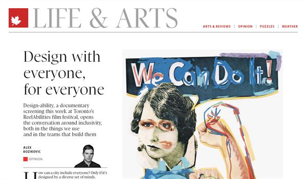 "page from the Life & Arts section of the Globe and Mail showing the headline ""Design with everyone, for everyone"""