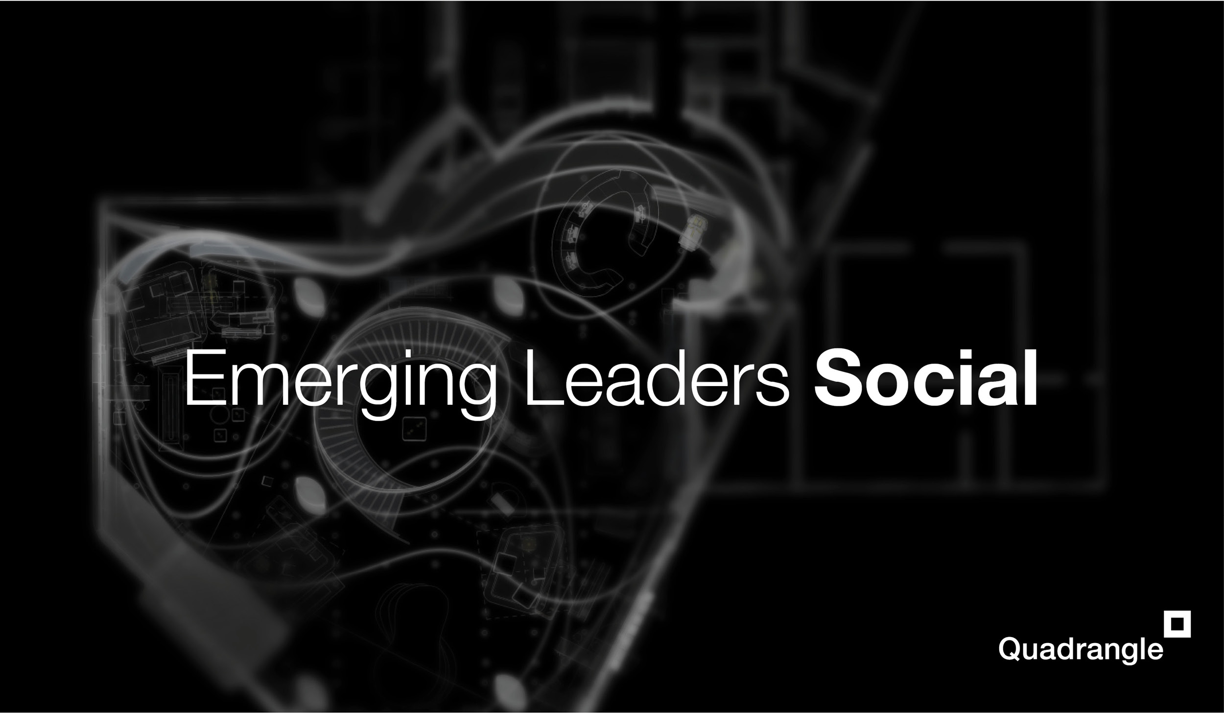 Quadrangle logo and the words Emerging Leaders Social on a black background with a concept drawing of the Samsung Experience Store