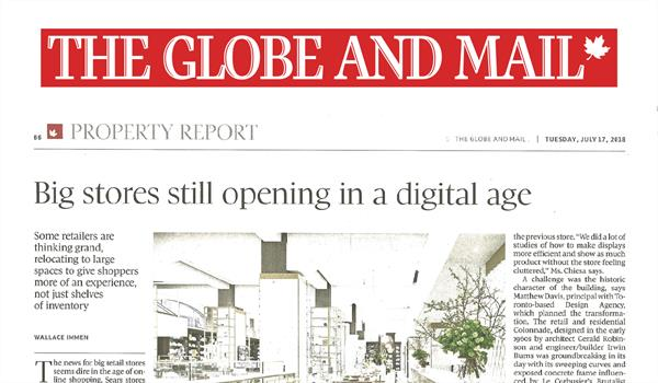 "scanned page of the Globe and Mail newspaper with the headline ""Big stores still opening in a digital age"""