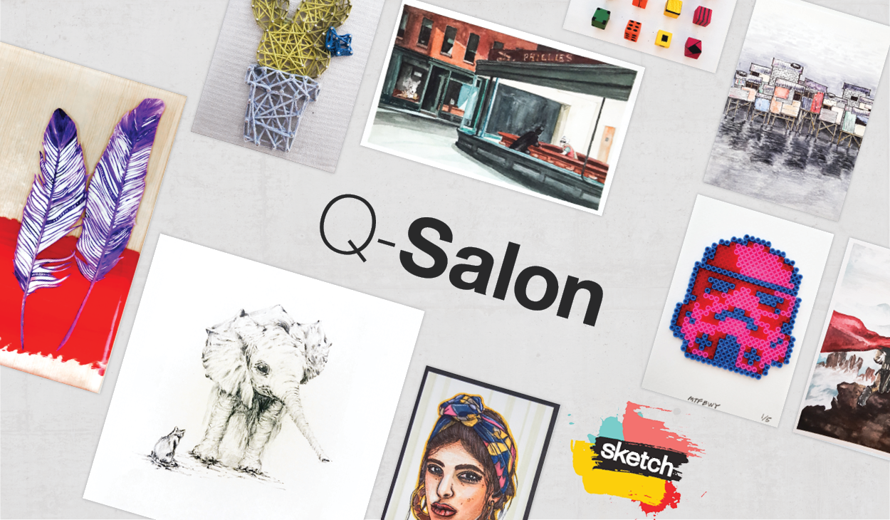 the word Q-Salon and the logo of SKETCH surrounded by artwork