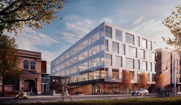 rendering of modern wood frame 80 Atlantic commercial building