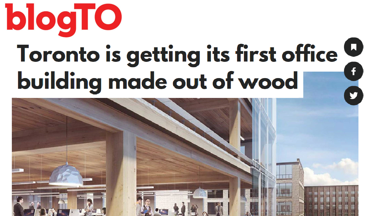 "screengrab of a blogTO headline reading ""Toronto is getting its first office building made out of wood"" above a rendering showing the wood frame interiors of 80 Atlantic"