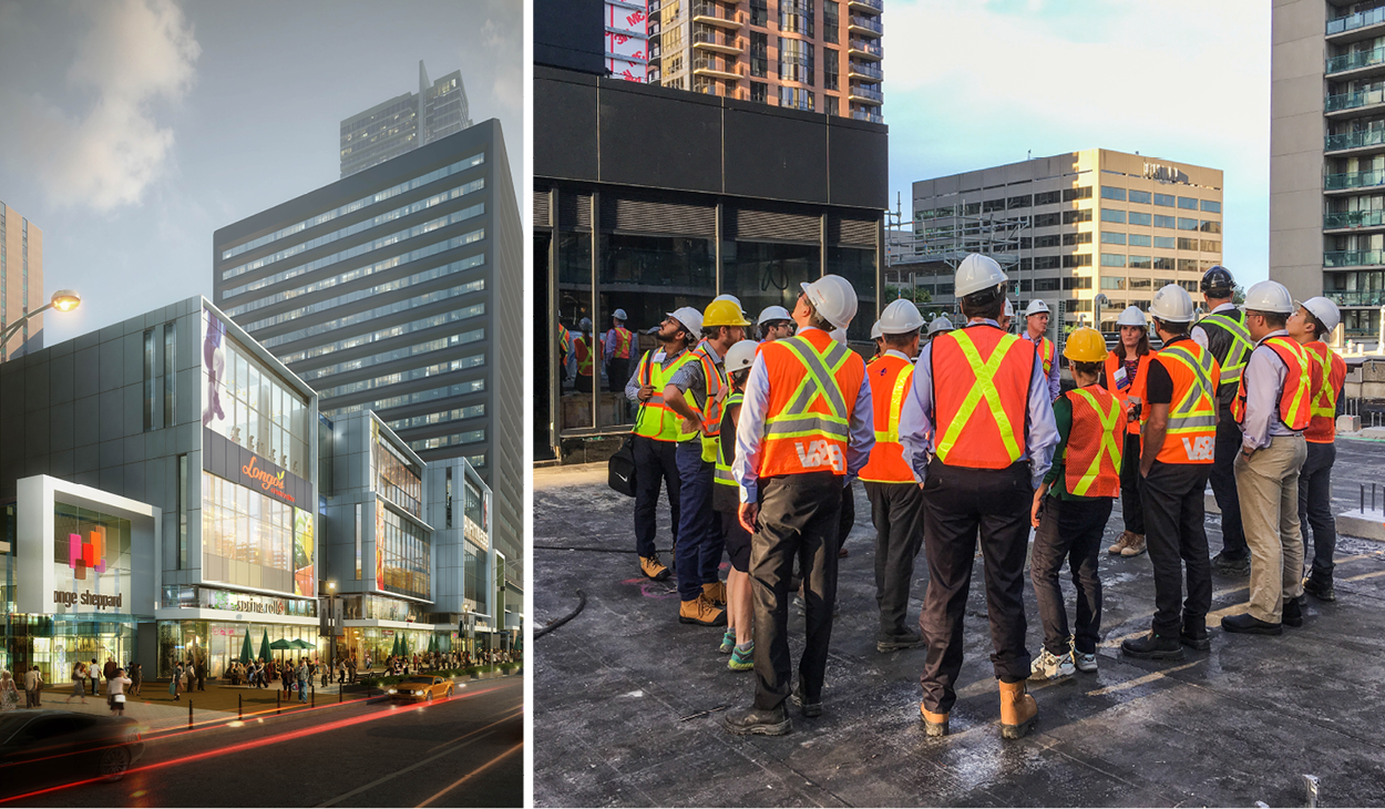 image of YSC rendering and a group of tour participants from ULI wearing hard hats