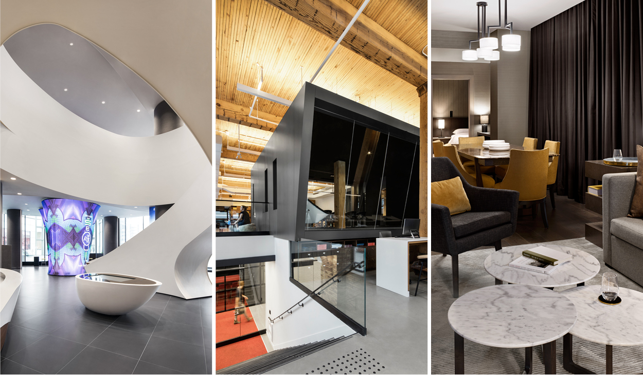 3 interior design projects that won ARIDO Awards: the feature stair of Samsung Experience Store, black boardroom in The Travel Centre, seating area in Marriott Markham hotel suite