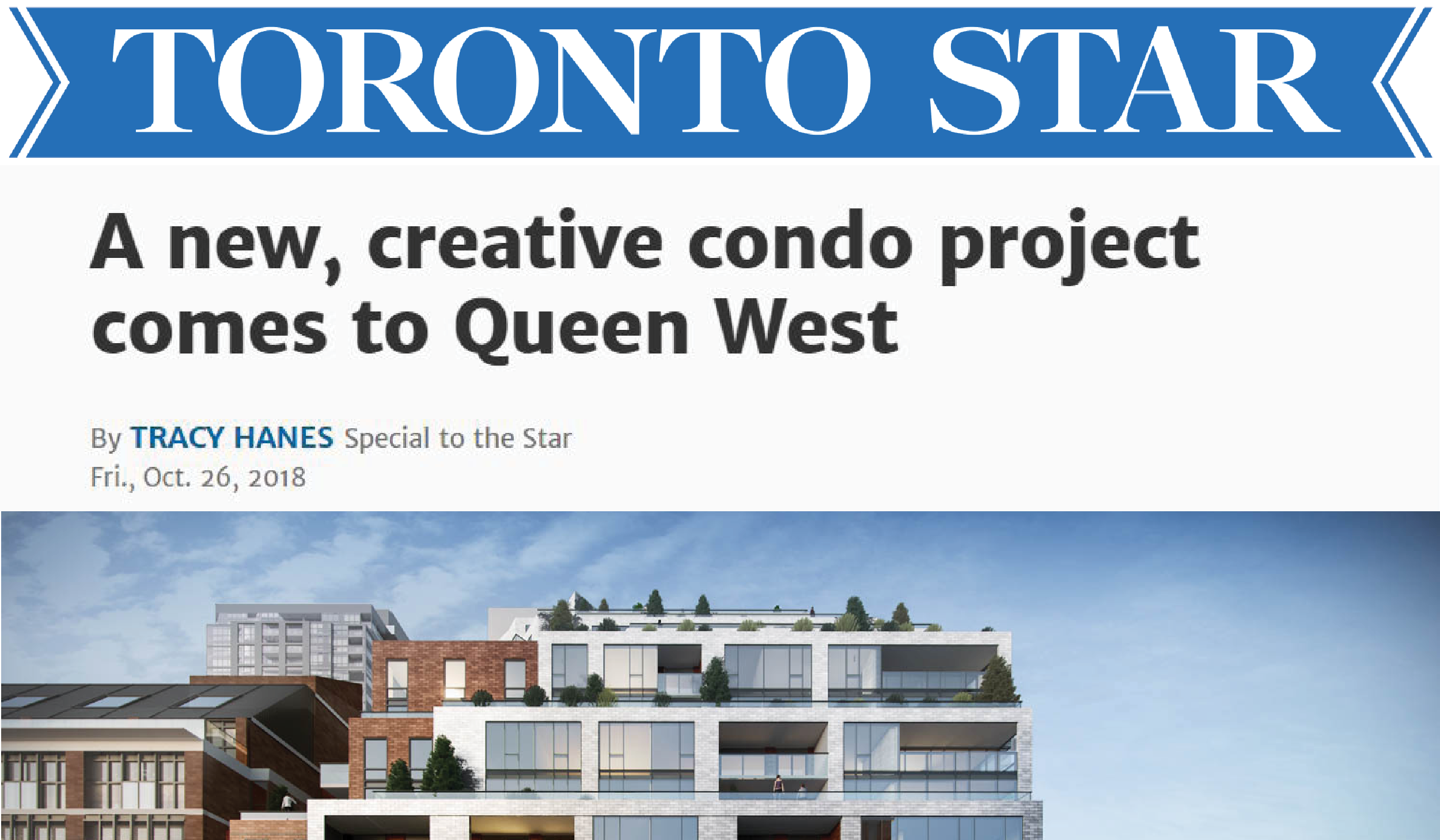 "Toronto Star logo and the headline ""A new, creative condo project comes to Queen West"" above a rendering of a mid-rise condo"