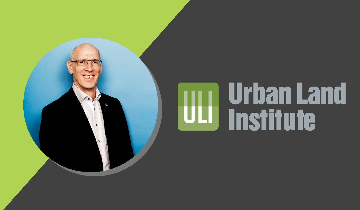 Les Klein beside the Urban Land Institute logo on a dark grey and Quadrangle green background