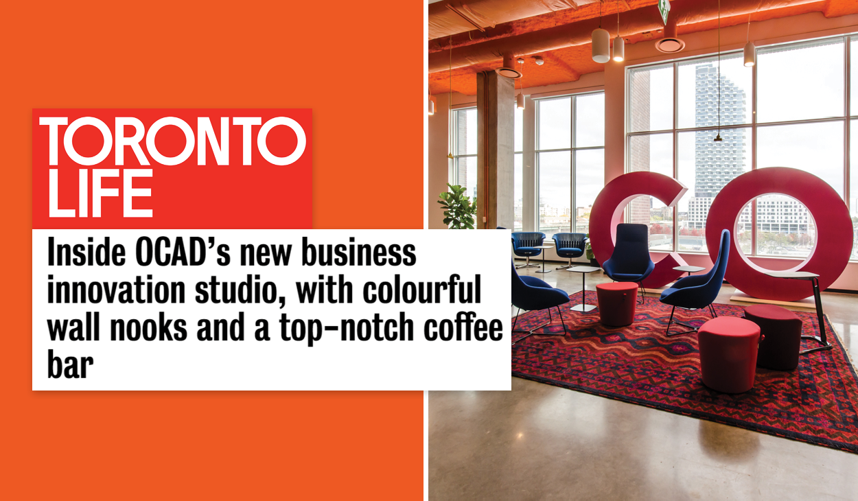 "the Toronto Life logo and headline ""Inside OCAD's new business innovation studio, with colourful wall nooks and a top-notch coffee bar"" beside the OCADU CO lounge with bright pink 6ft C and O letter sculptures and orange ceiling"