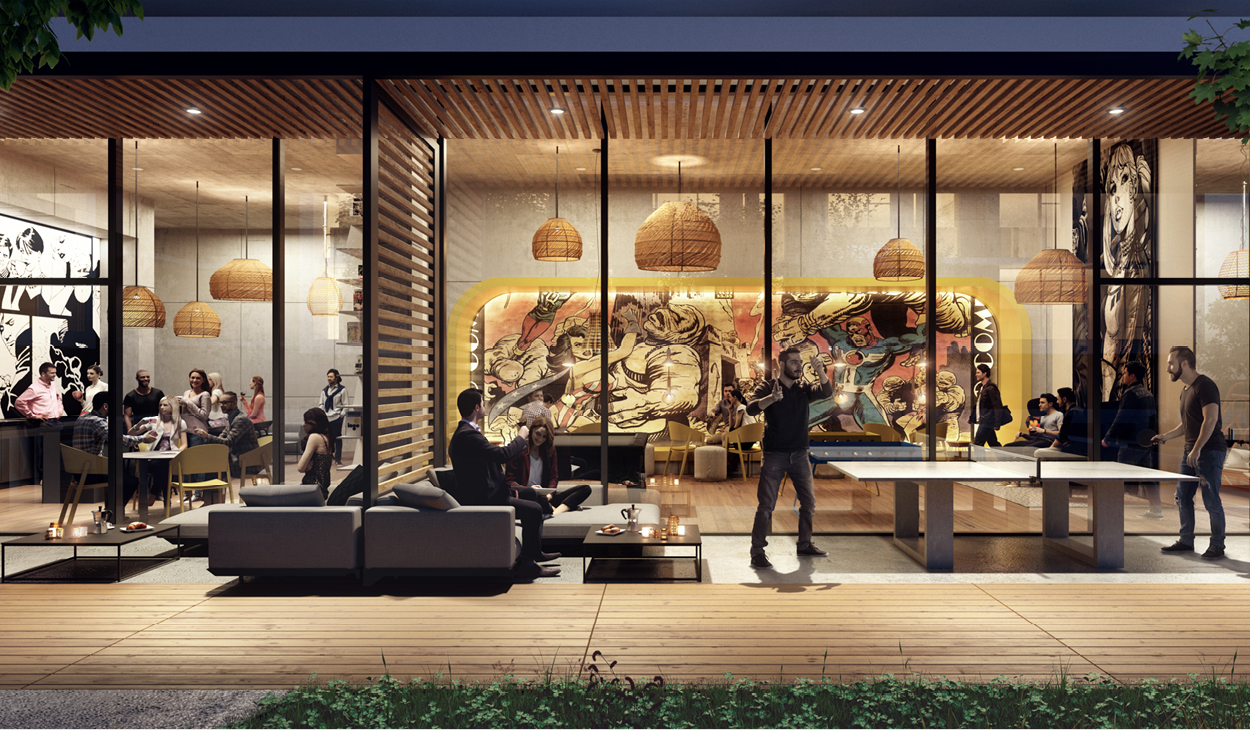rendering of an indoor and outdoor amenity area with lounge seating, ping pong table and artistic murals on the interior walls