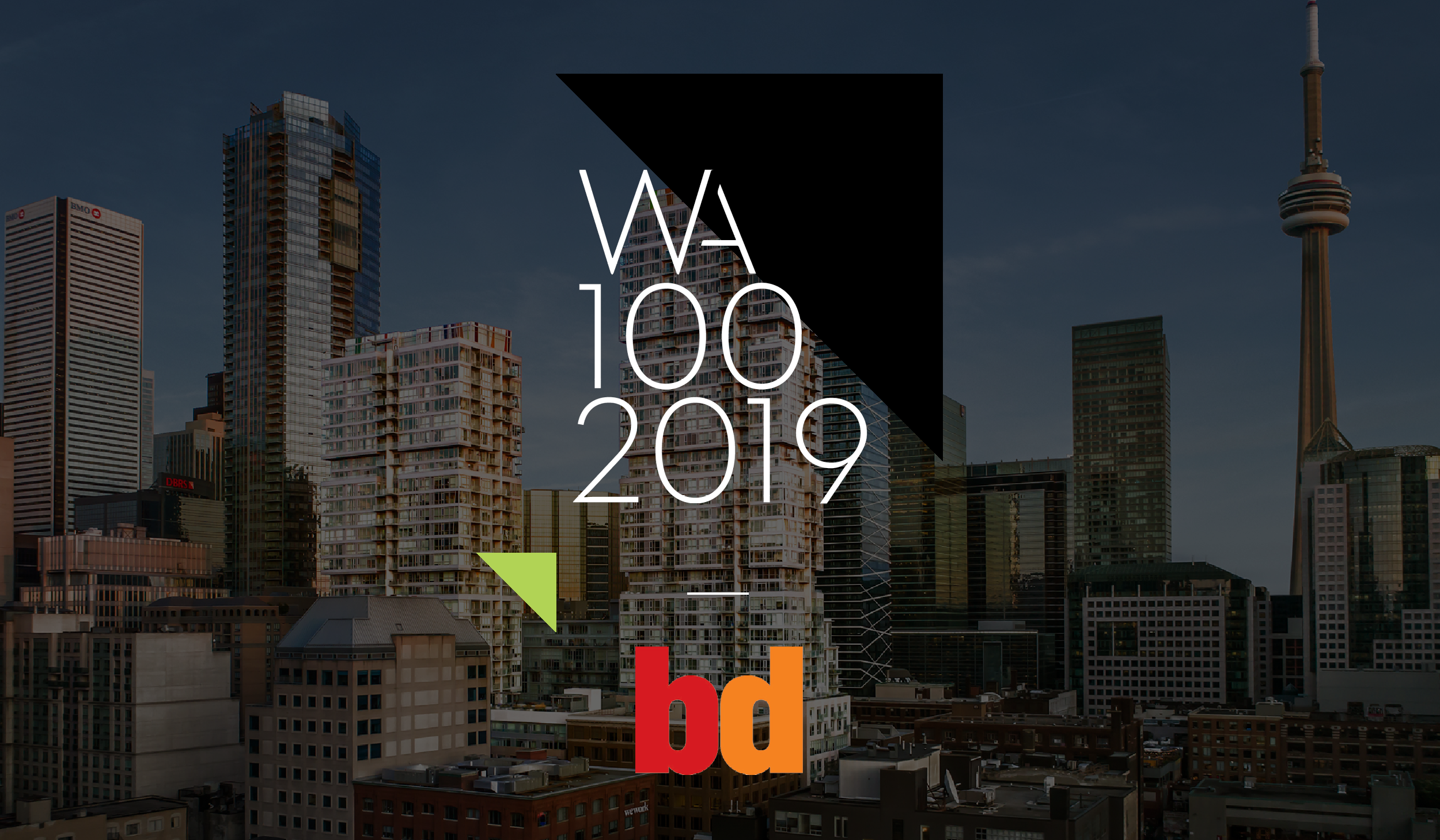 twin high-rise condo towers, Studio on Richmond, with the WA100 2019 and BD magazine logos superimposed overtop