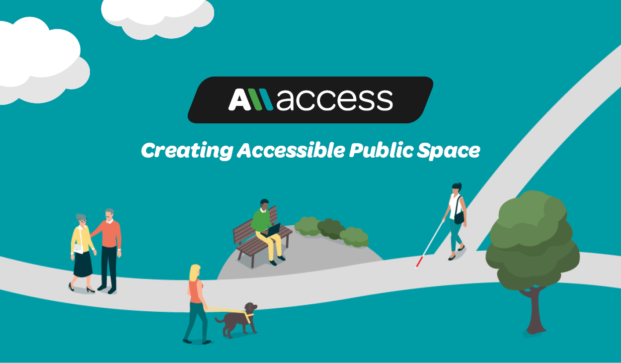 AllAccess logo, the words Creating Accessible Public Space, and cartoon of people of varying abilities enjoying a park