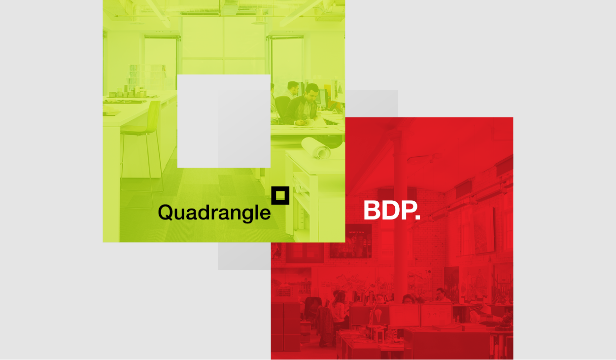Quadrangle Square Logo Icon overlapping BDP Period Red Box with studio images overlay within