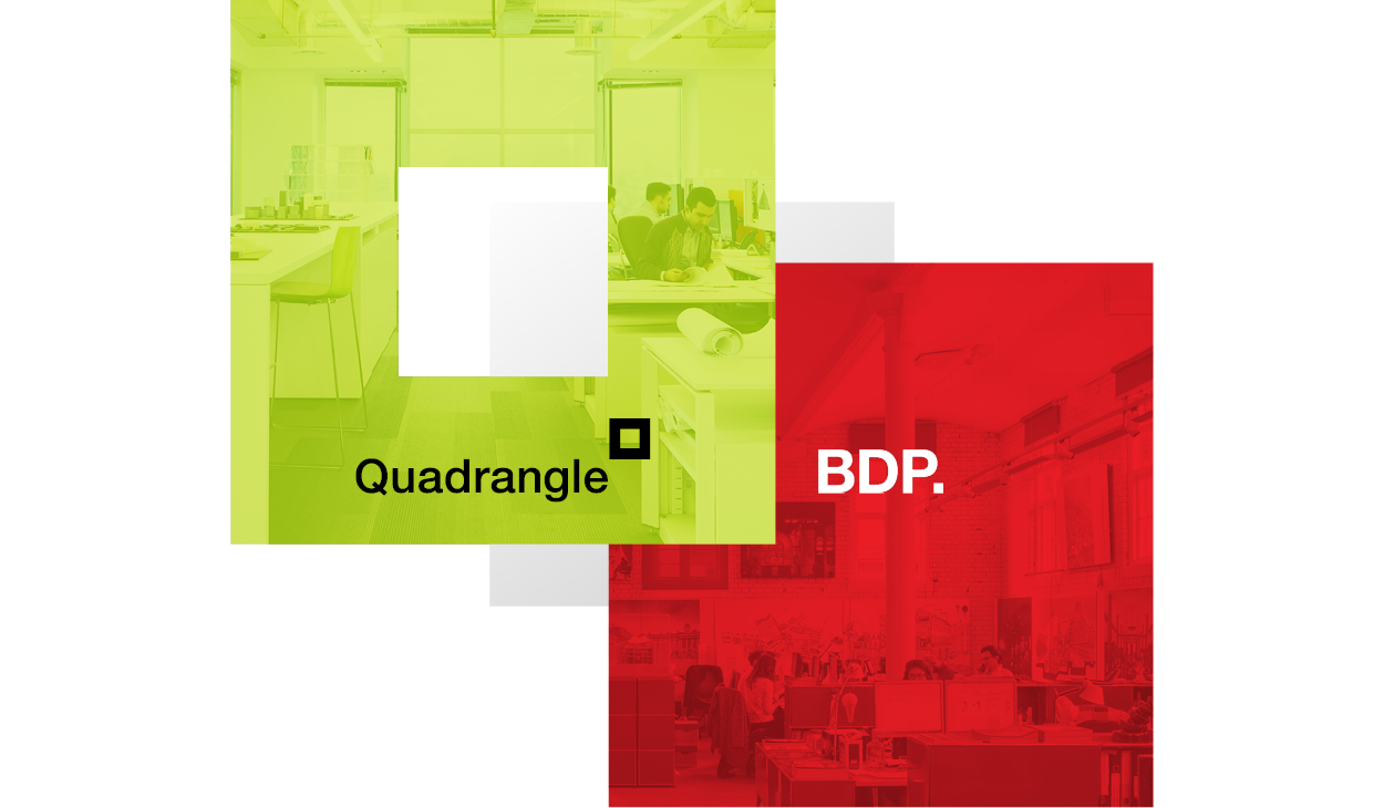 Quadangle logo is intertwined with BDP logo to indicate partnership