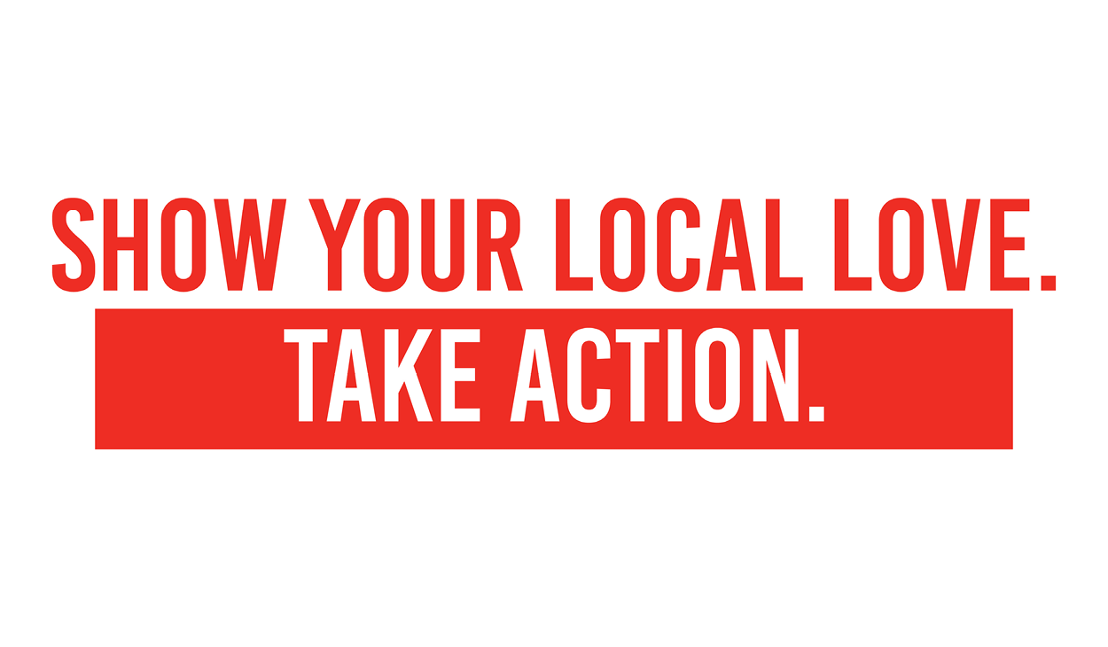 """the words """"Show your local love. Take action."""" in United Way red"""