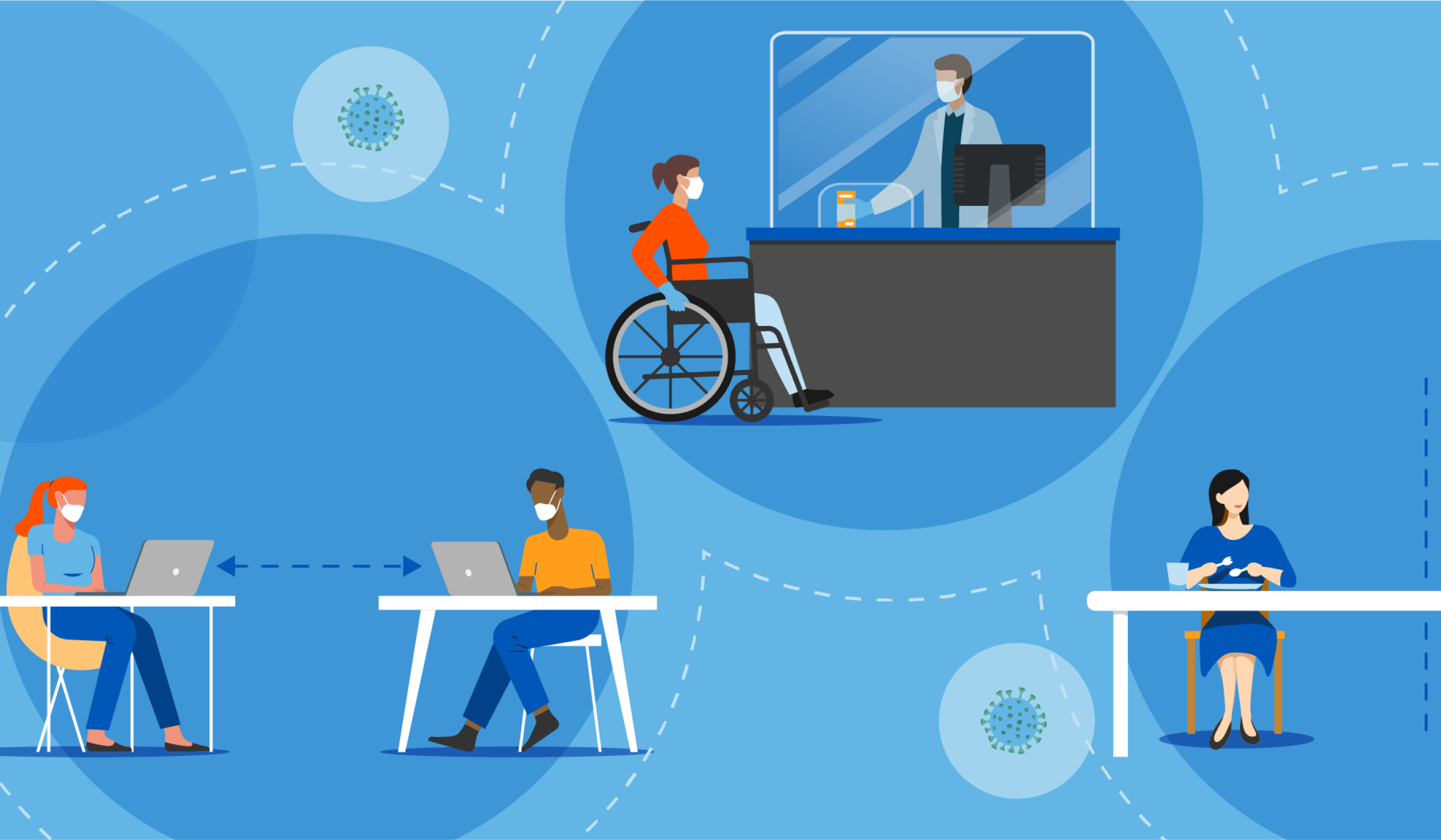 illustration showing person in a wheelchair wearing a mask picking something up from a pharmacist and women wearing masks working off laptops with measurements indicating they are keeping distance