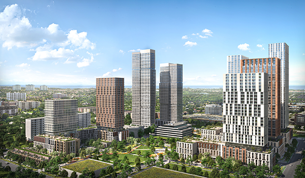 aerial rendering of a master planned area spanning four blocks of new development that house a mix of building types including eight high rise towers