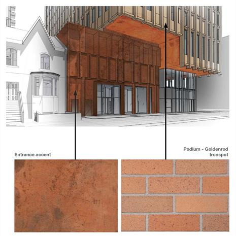 rendering of high rise condominium entrance highlighting copper and brick details