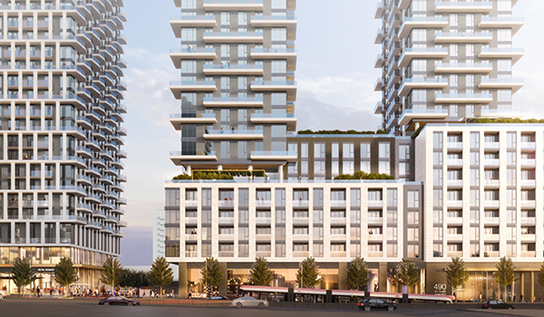 rendering of a streetcar going underground in front of a condo development with connected podium and three high rise towers on top
