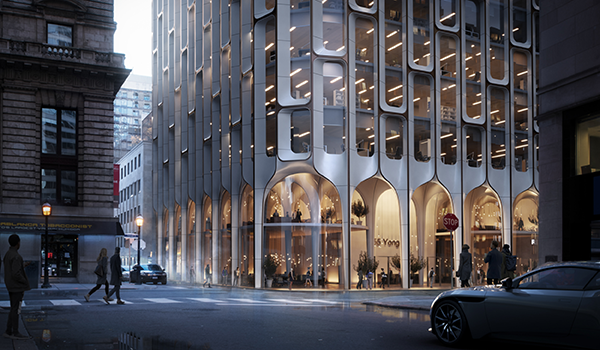 rendering of a downtown urban mixed use building podium with double height retail at grade visible through glazing framed in light coloured arched cladding