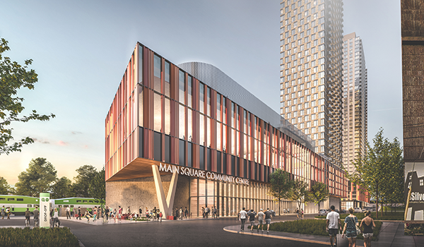 rendering of a community centre in the podium of 6 Dawes with its three residential towers visible in the background and GO trains in the background
