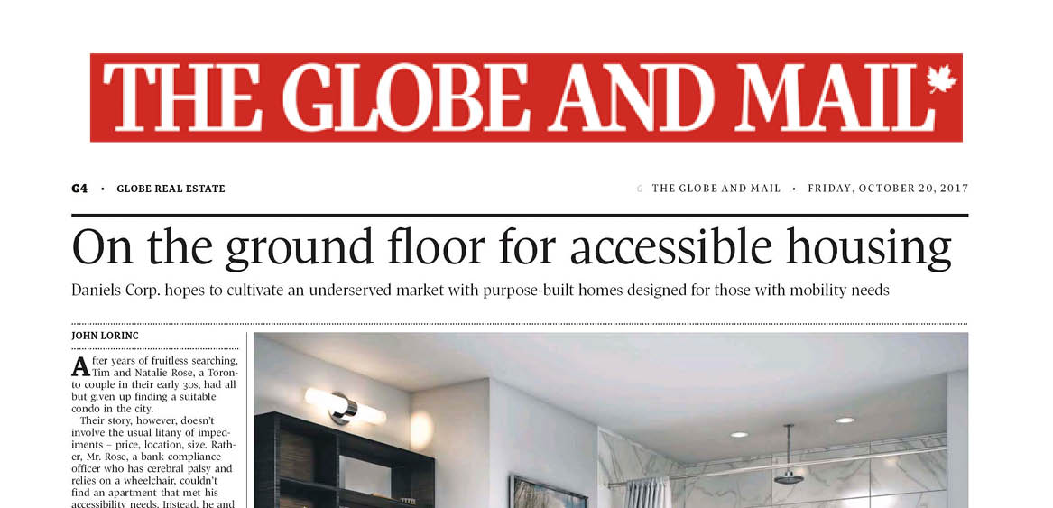 """The top have of a newspaper article from the Globe and Mail with the headline """"On the ground floor for accessible housing"""""""