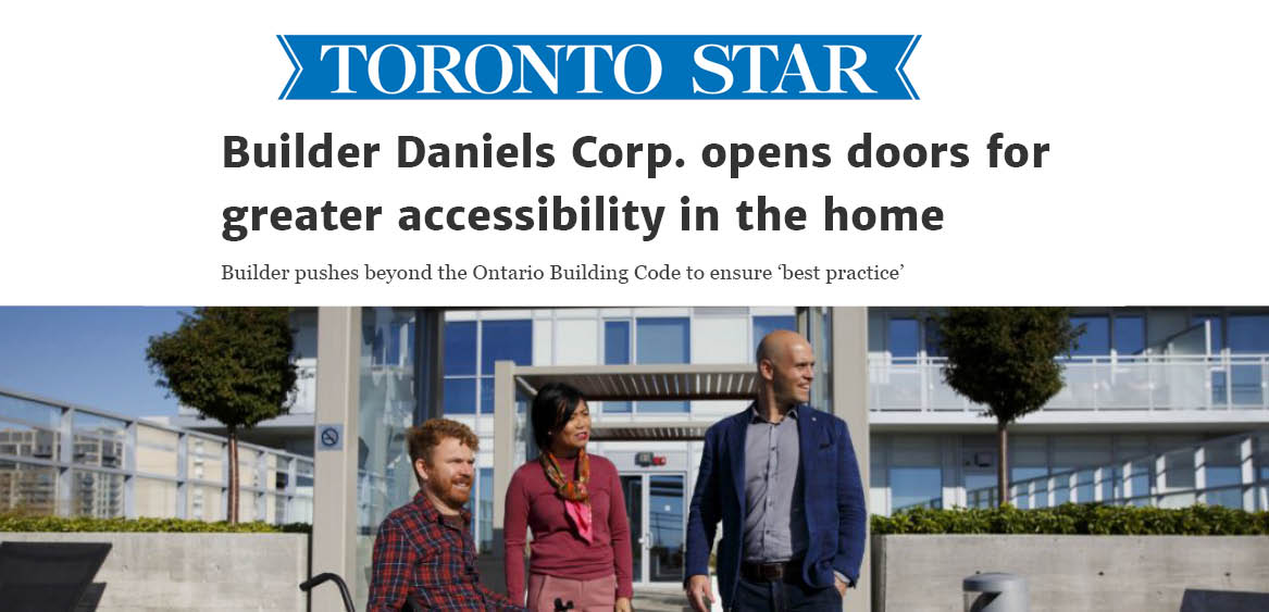 Headline reading Builder Daniels Corp. opens doors for greater accessibility in the home under Toronto Star logo