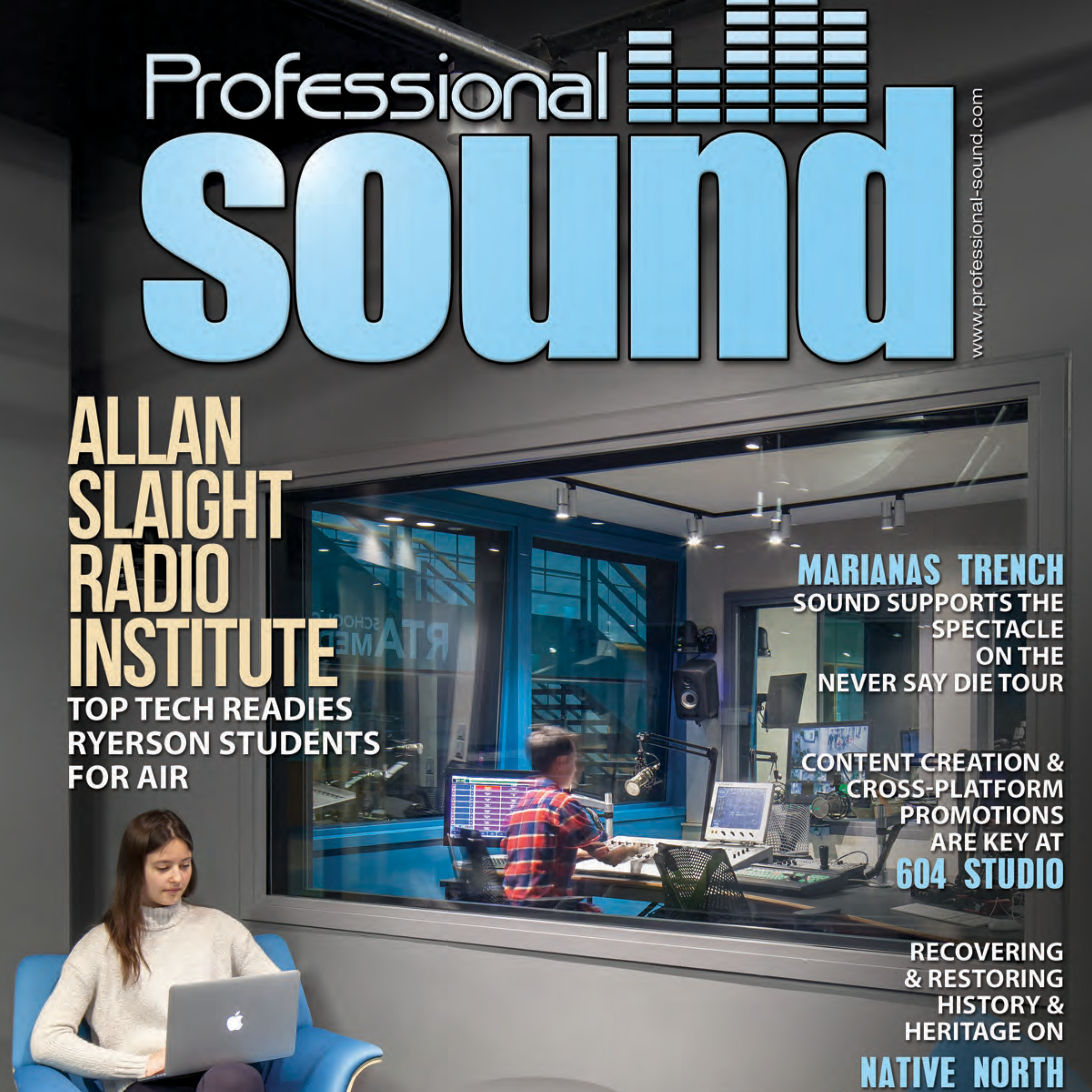 cover of Professional Sound magazine showing a recording booth at the Allan Slaight Radio Institute
