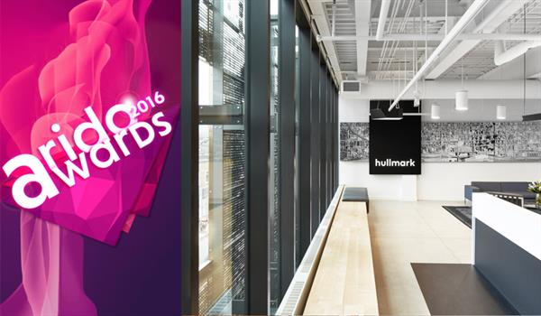 photo of the lobby of Hullmark Head Office, with the ARIDO Awards 2016 logo to the right