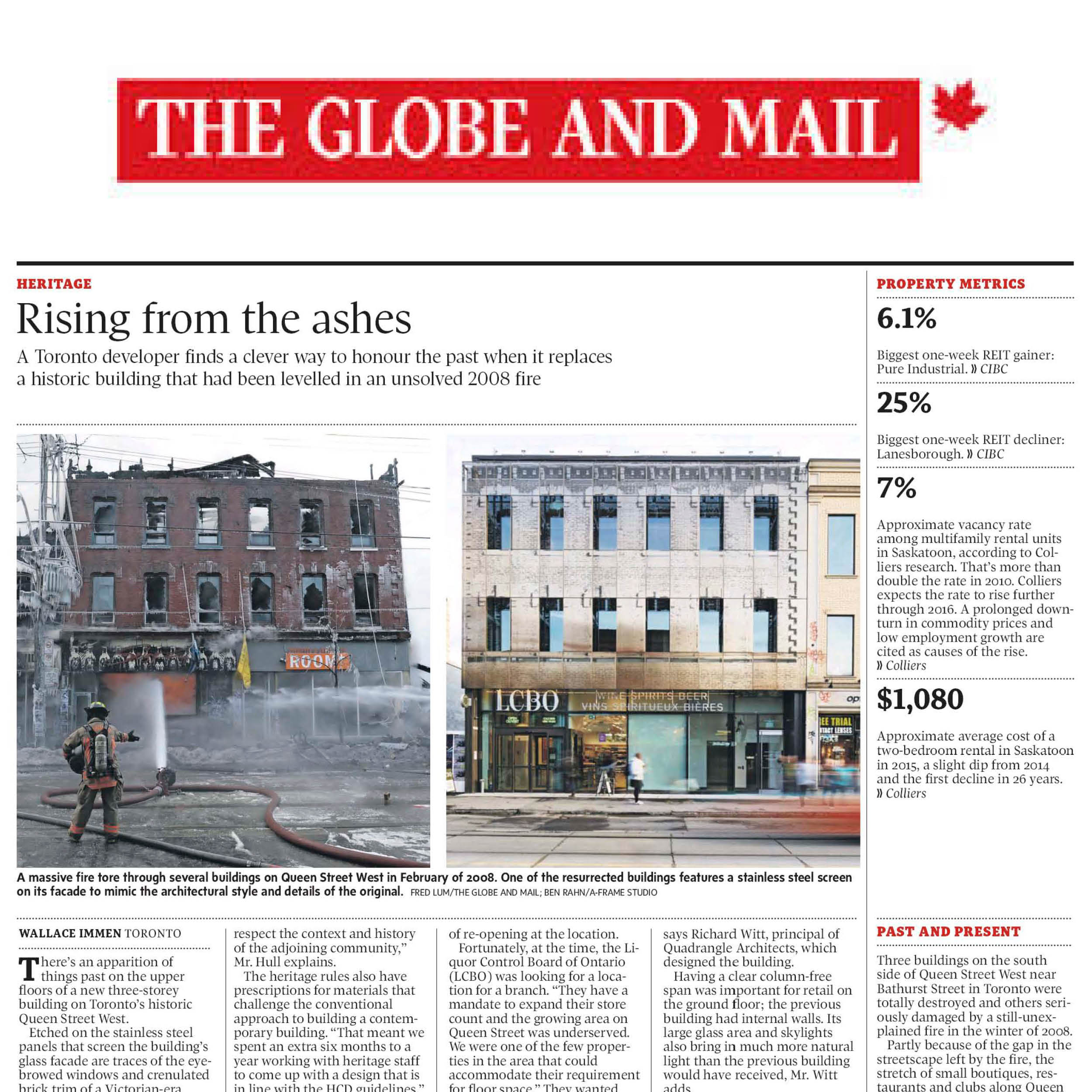 The Globe and Mail logo above a photo of 619 Queen damaged by fire and a photo of the new building